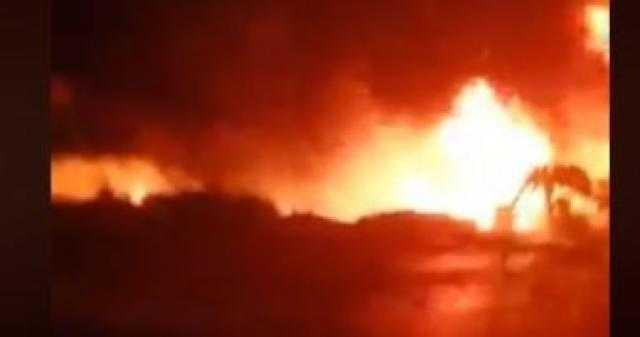 """فصل الكهرباء عن غرب """"إيتاي البارود"""" بعد حريق خط البترول"""