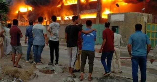 اندلاع حريق هائل في مخازن مصنع سكر بالخانكة