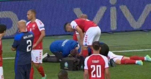 إيركسن يتعرض لخطر الموت في أرض الملعب بمباراة الدنمارك وفنلندا