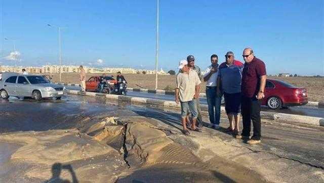 انفجار خط المياه الرئيسي بمدينة بورفؤاد